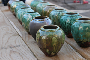 rows of raku pots