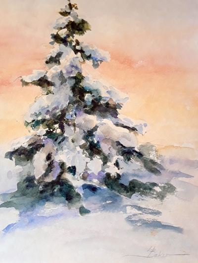 snowy evergreen painting