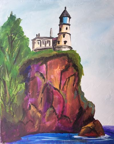split rock lighthouse painting