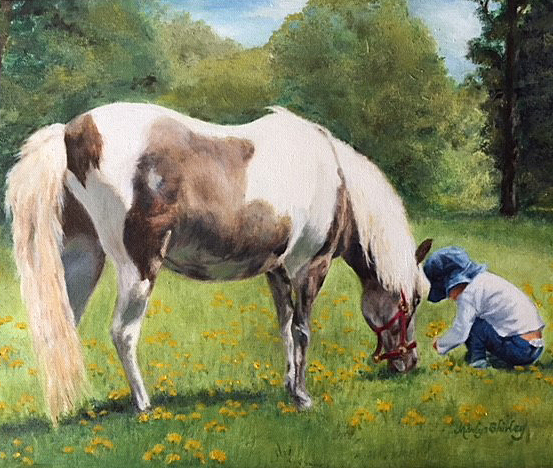 oil painting of a horse and child in a pasture