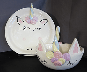 unicorn plate and bowl