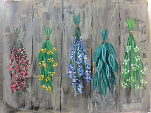 painting of herbs hanging to dry on a wooden fence