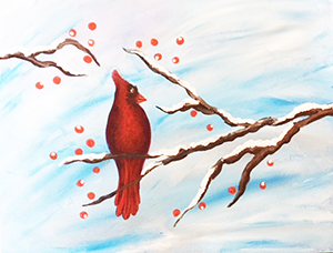 watercolor painting of a cardinal